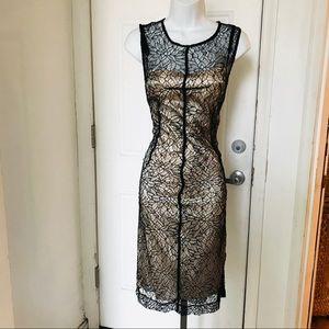 Dresses & Skirts - Black Lace Nude Overlay 2pc Dress